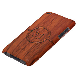 Monogram Mahogany Wood Print Barely There iPod Covers