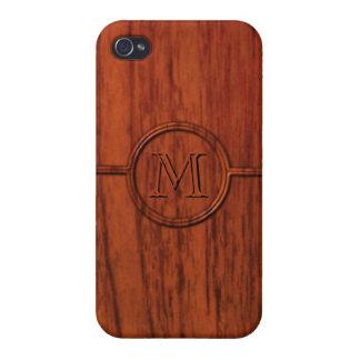 Monogram Mahogany Wood Print iPhone 4 Case