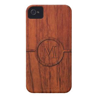Monogram Mahogany Wood Print iPhone 4 Cases