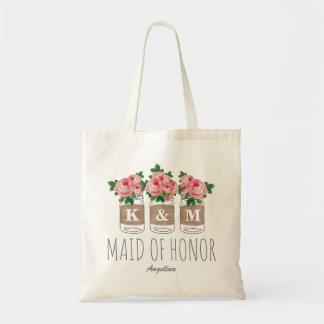 MONOGRAM MAID OF HONOR | MASON JAR WEDDING BUDGET TOTE BAG