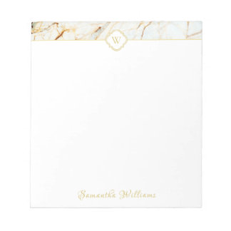 Monogram Marble Elegant White Gold Small Notepad