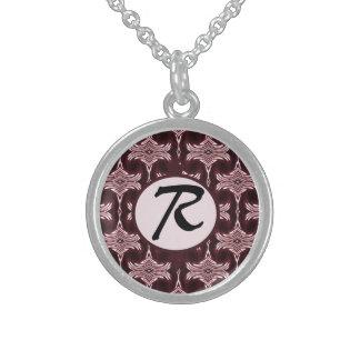 Monogram Maroon Art Deco Necklaces