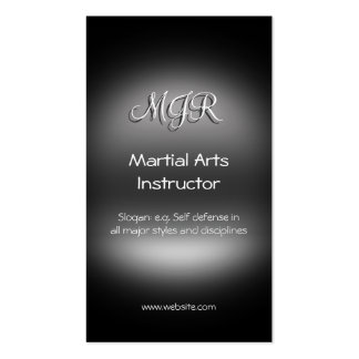 Monogram, Martial Arts Instructor, metal-look Pack Of Standard Business Cards