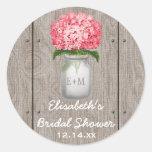 Monogram Mason Jar Fuchsia Hydrangea Bridal Shower Round Sticker