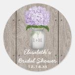 Monogram Mason Jar Purple Hydrangea Bridal Shower Round Sticker