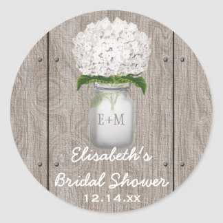 Monogram Mason Jar White Hydrangea Bridal Shower Classic Round Sticker
