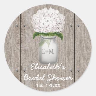 Monogram Mason Jar White Hydrangea Bridal Shower Round Sticker