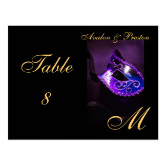 Monogram Masquerade Mask Purple Table Placecard Postcard