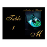 Monogram Masquerade Mask Teal Table Placecard Postcard