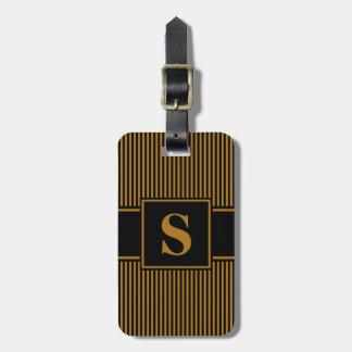 Monogram Matte Gold Black Pinstripe Luggage Tag