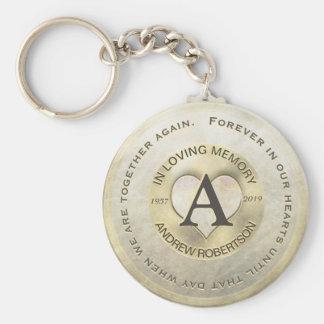 Monogram | Memorial | Gold Heart Key Ring
