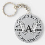 Monogram | Memorial | Silver Angel Wings Basic Round Button Key Ring