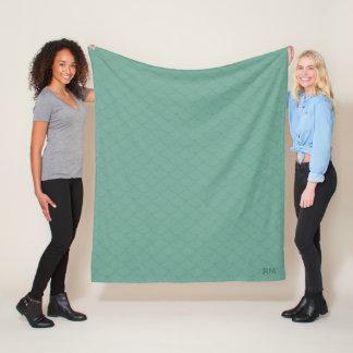 Monogram Mermaid Tail Scale Pattern Fleece Blanket