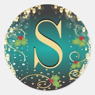 Monogram Merry Christmas Seals Round Sticker