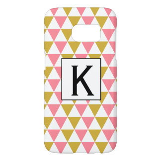 Monogram Metallic Gold and Pink Triangles
