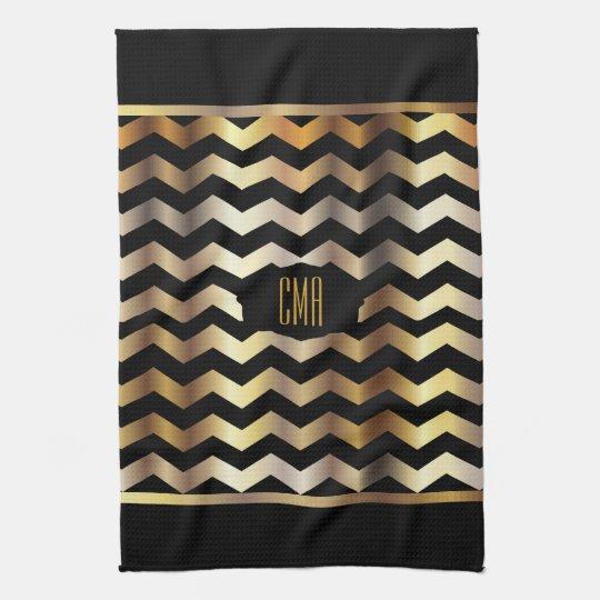 Monogram Metallic Gold & Black Stripe Chevron Tea