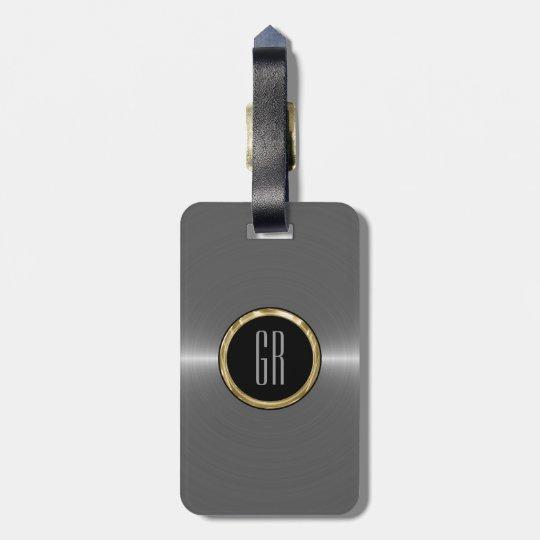 Monogram Metallic Silver Stainless Steel Look Luggage Tag