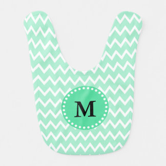 Monogram Mint Green and White Chevron Pattern Bib