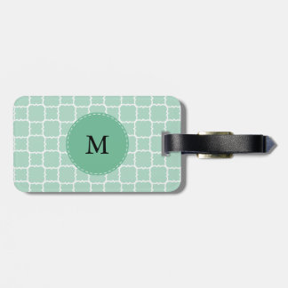 Monogram Mint Green and White Quatrefoil Pattern Luggage Tag