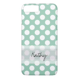 Monogram Mint Green Cute Chic Polka Dot Pattern iPhone 7 Plus Case