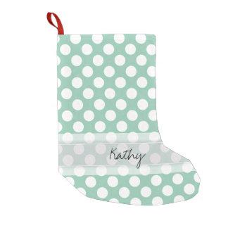 Monogram Mint Green Cute Chic Polka Dot Pattern Small Christmas Stocking