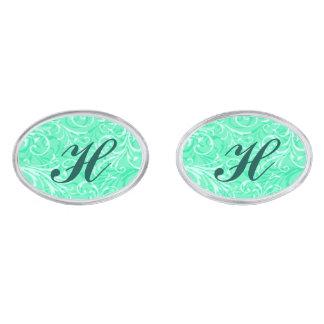 Monogram Mint Green Ornamental Cufflinks Silver Finish Cufflinks