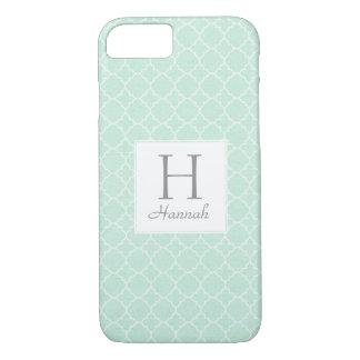 Monogram Mint Green Pattern Elegant Quatrefoil iPhone 8/7 Case