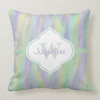 Monogram Mint Yellow Lilac Abstract Cushion