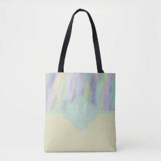 Monogram Minty Yellow Lilac Tote Bag