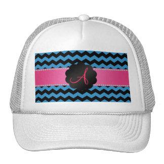 Monogram misty blue and black chevrons cap