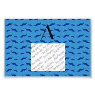 Monogram misty blue mustache pattern art photo