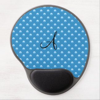 Monogram misty blue pearl polka dots gel mouse pads