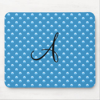 Monogram misty blue pearl polka dots mouse pad
