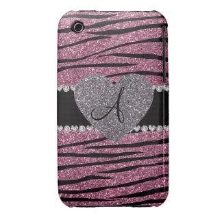 Monogram misty pink glitter zebra stripes heart iPhone 3 Case-Mate case