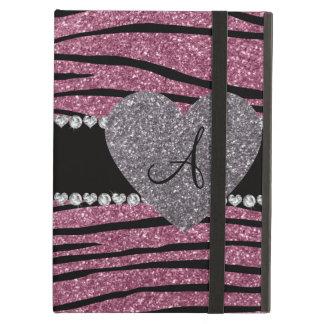 Monogram misty pink glitter zebra stripes heart iPad air case