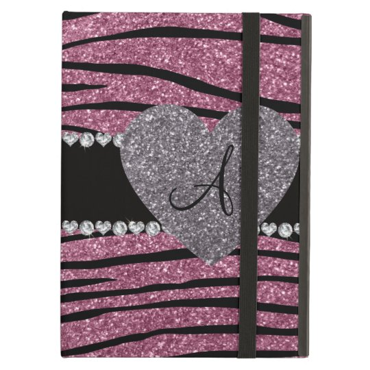 Monogram misty pink glitter zebra stripes heart iPad