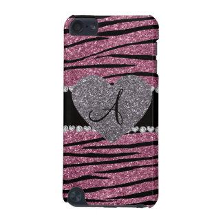 Monogram misty pink glitter zebra stripes heart iPod touch (5th generation) cover