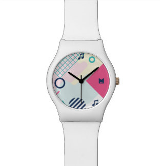 Monogram. Modern 80s Geometric & Musical Pattern. Watch