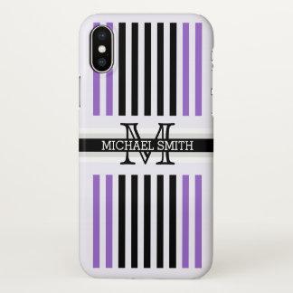 Monogram Modern Black Amethyst Stripes Pattern iPhone X Case