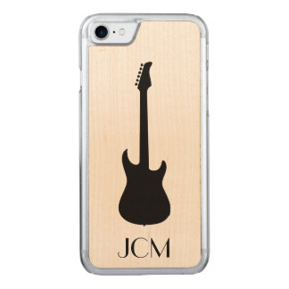 Monogram Modern Black Electric Guitar Carved iPhone 8/7 Case