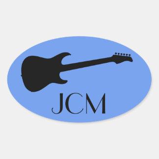 Monogram Modern Black Electric Guitar, Cornflower Oval Sticker