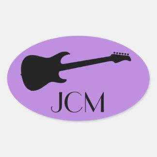 Monogram Modern Black Electric Guitar, Lavender Oval Sticker