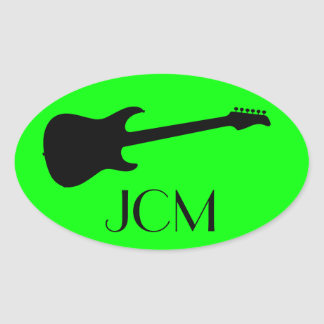 Monogram Modern Black Electric Guitar, Lime Green Oval Sticker