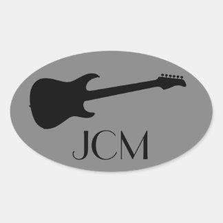 Monogram Modern Black Electric Guitar, Medium Gray Oval Sticker