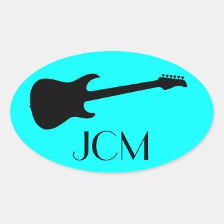 Monogram Modern Black Electric Guitar on Aqua Blue Oval Sticker