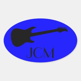 Monogram Modern Black Electric Guitar on Blue Oval Sticker