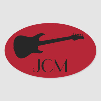 Monogram Modern Black Electric Guitar on Dark Red Oval Sticker