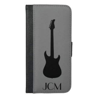 Monogram Modern Black Electric Guitar on Gray iPhone 6/6s Plus Wallet Case