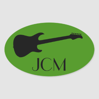 Monogram Modern Black Electric Guitar on Green Oval Sticker