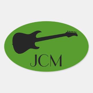 Monogram Modern Black Electric Guitar on Green Oval Sticker